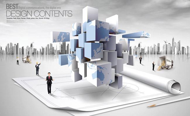 创意悬浮立方体psd素材 - 爱图网设计图片素材下载