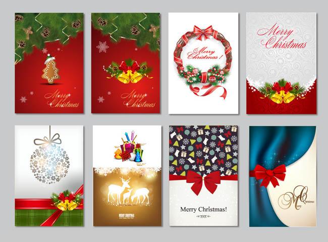 矢量设计礼物星光彩带圣诞快乐雪人冬天ai树环鹿蜡烛蝴蝶结节日素材