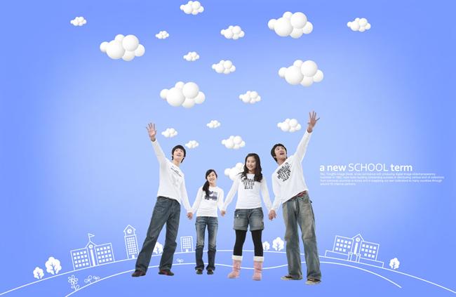 女孩卡通背景卡通房子云朵天空教育学习学校文化人物宣传海报广告背景