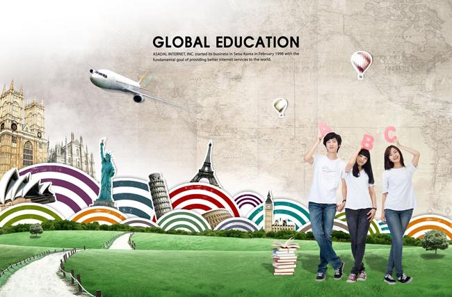 坐地上看天空的韩国儿童psd素材 云朵上玩耍的学生psd素材 手拿书本的