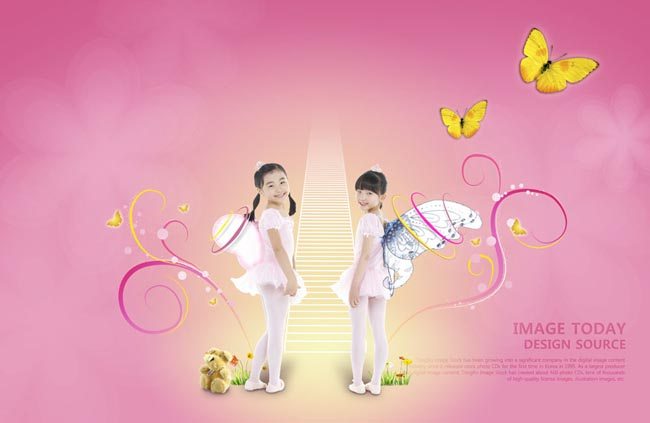 psd素材 人物图片 蝴蝶翅膀 粉色背景 韩国儿童 封面 可爱小孩 小学生