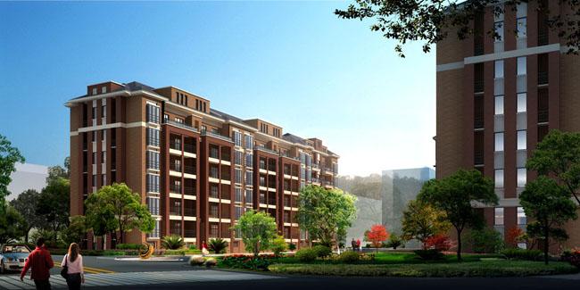 校园建筑环境设计建筑效果图中式园林园林