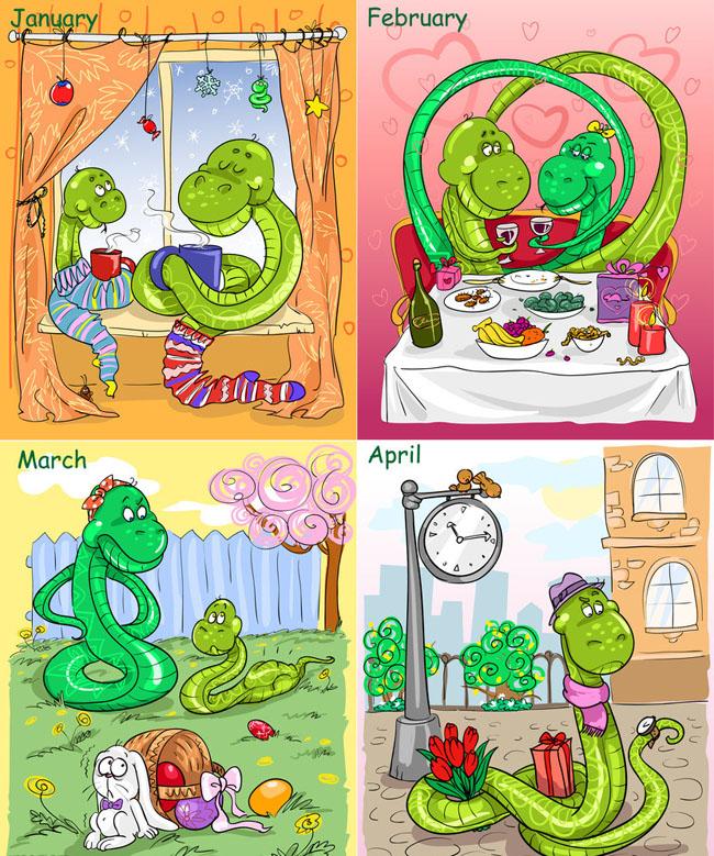 新春 传统 花纹 年画 吉祥图案 传统图案 卡通蛇 手绘蛇 青蛇 可爱