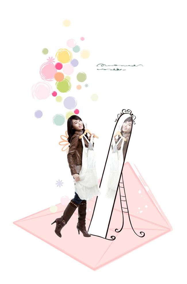 照镜子韩国女人psd素材