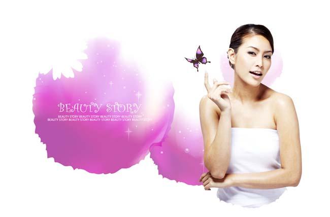 素材 女人/韩国女人美容海报模板PSD素材