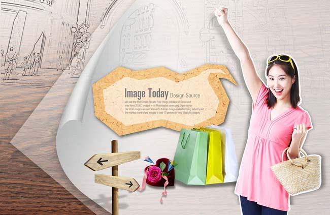 微笑的小女孩psd素材 展示购物的女人psd素材