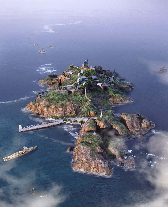 钓鱼岛屿鸟瞰图景观psd素材