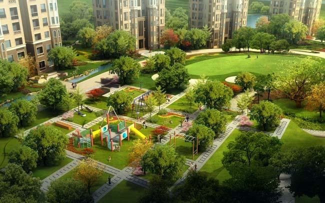 休闲场地 园林景观设计 楼房建筑 环艺设计 建筑设计 建筑效果图 中式