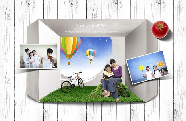 爱图首页 psd素材 人物图片 幸福家庭 幸福美满 木质背景 草地 自行车