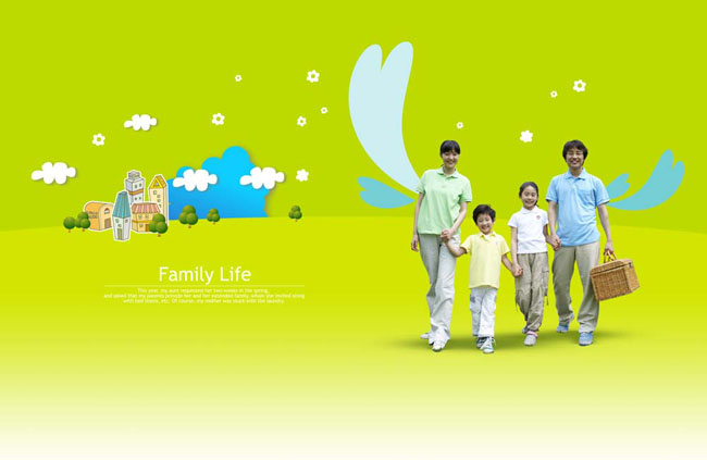 卡通背景幸福牵手家庭户外活动休闲的一家人图片