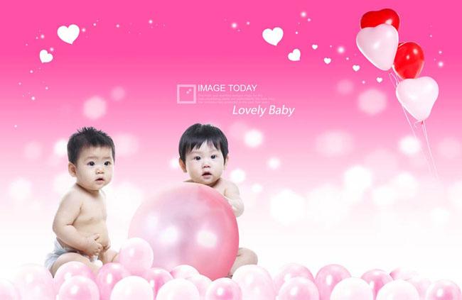 粉色背景可爱宝宝写真psd素材