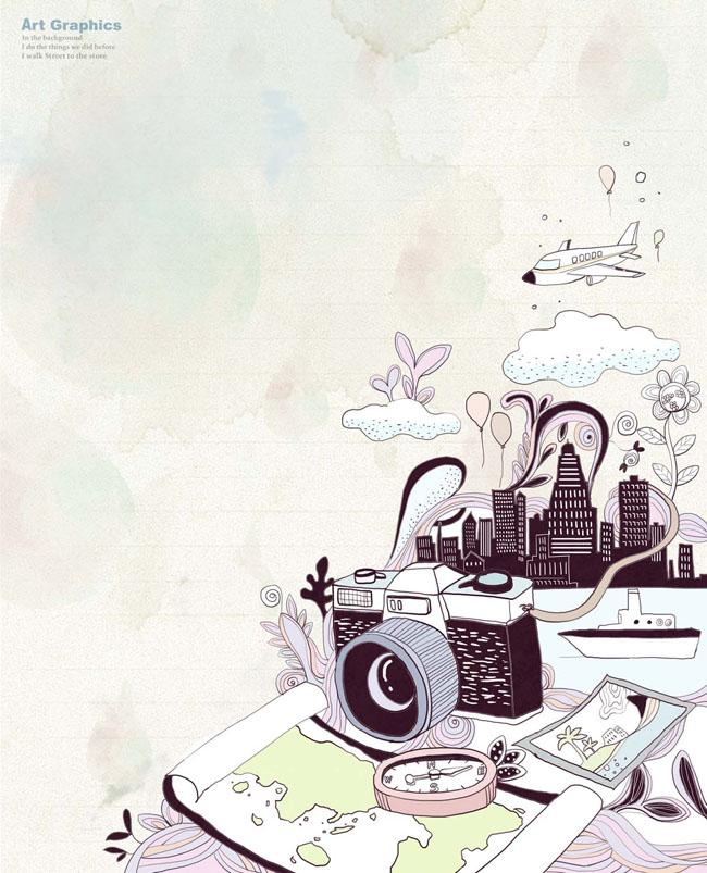 psd素材 卡通动漫 卡通插画 插画素材 相机 地图 旅行 城市 照片 飞机