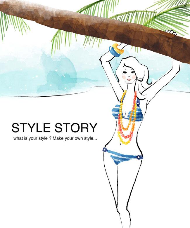 爱图首页 psd素材 卡通动漫 海滩风景 性感卡通女性 卡通模板 卡通
