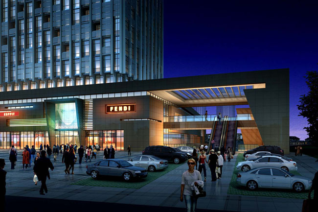 停车场场景观商场效果图环境艺术设计环艺设计建筑设计大厦景观商业街