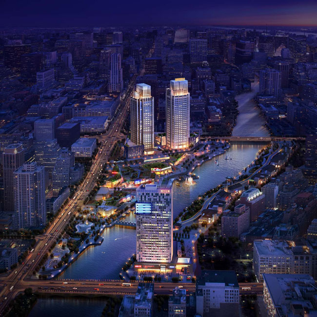 城市鸟瞰风景建设psd素材