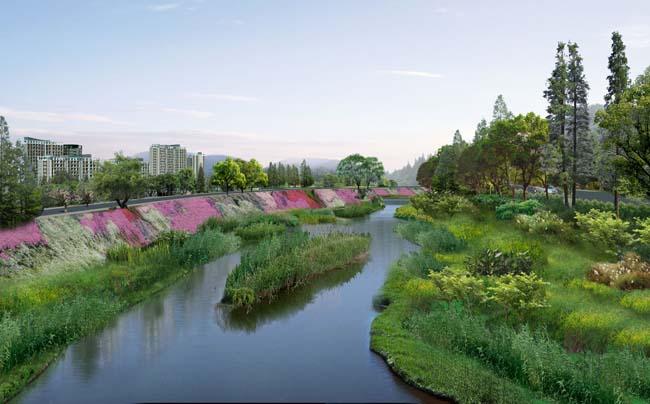 小河园林绿化景观psd素材