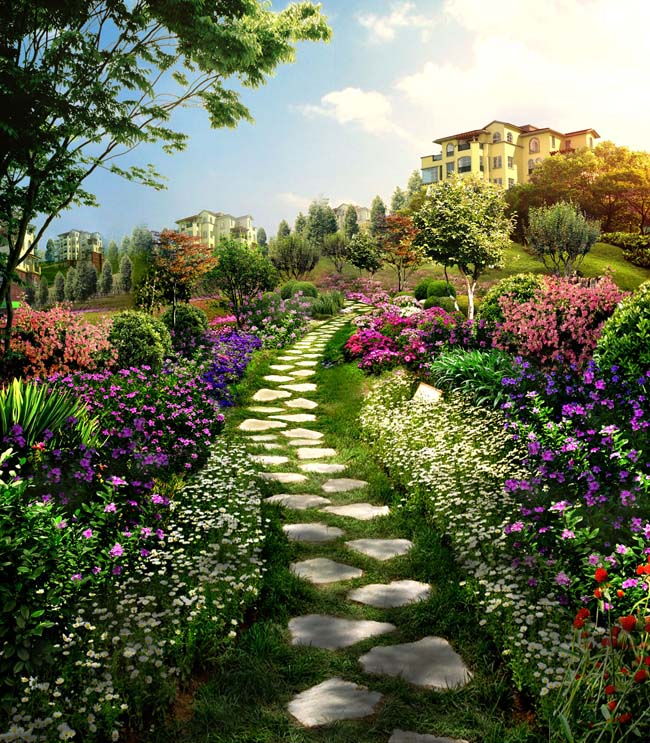 关键字: 花园景观园林环境绿化环境花草树木建筑效果图别墅设计环艺
