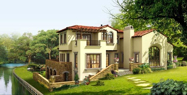 欧式园林别墅建筑设计psd素材