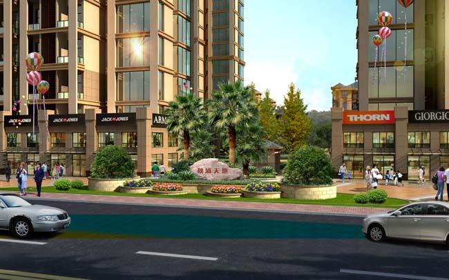 街道建筑 小區門口 建筑效果圖 建筑設計 景區石 環境設計 園林景觀