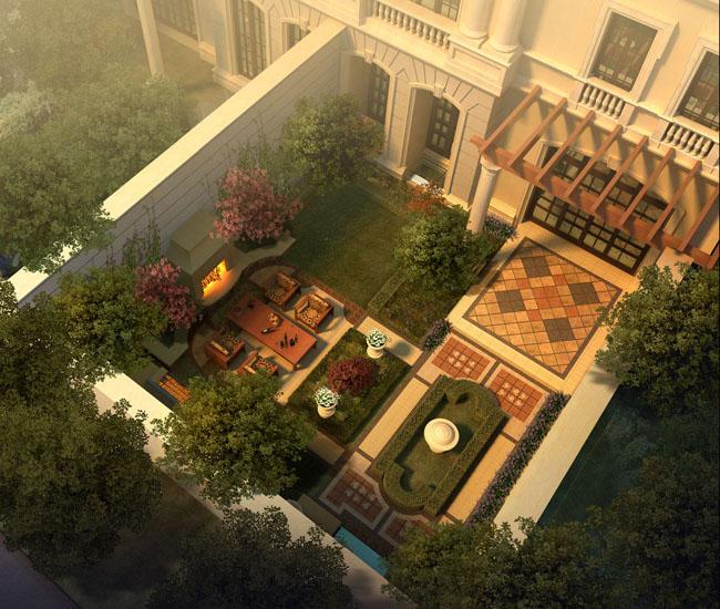 别墅后花园景观图一览PSD楼房-爱图网设计图间复式v别墅素材图片