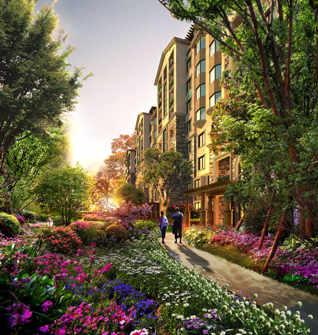> 素材信息   关键字: 小区建筑环境效果图建筑设计花草树木花园洋房