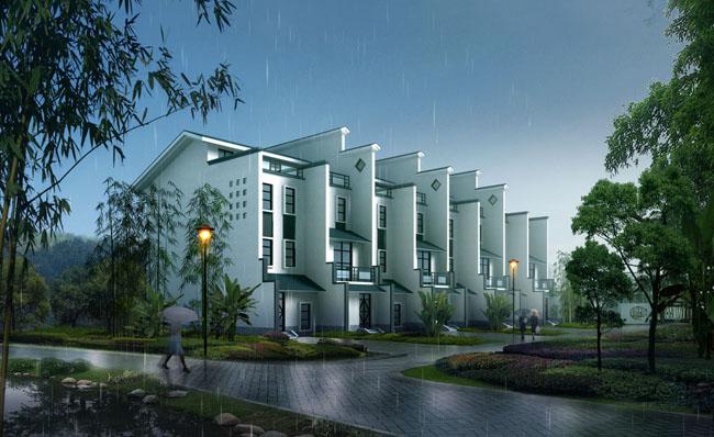 中国风建筑楼房景观psd素材
