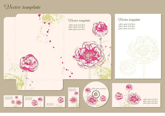 创意手绘花朵包装矢量素材