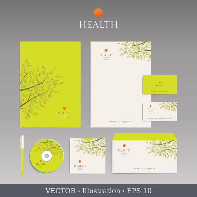 秋天树叶背景光盘信封设计矢量素材