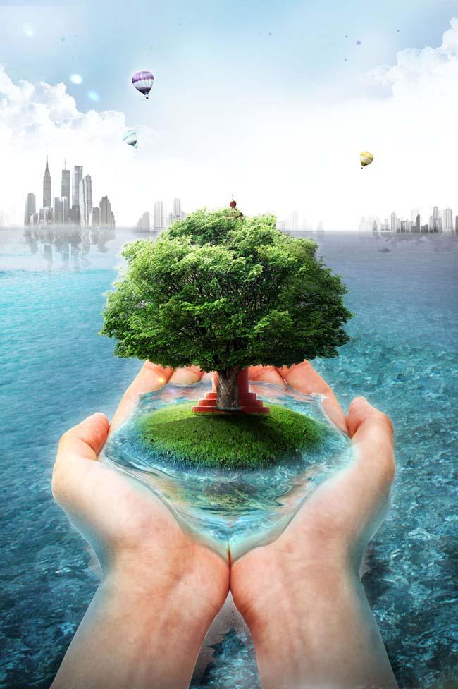 关键字: 城市远景创意广告环保公益广告海洋手托绿树节约用水公益