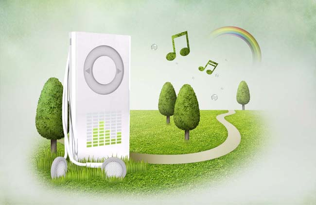 MP3数码科技绿化PSD素材