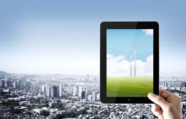 平板电脑城市风景PSD素材