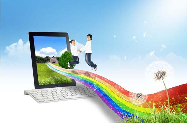 彩虹桥与数码电脑psd素材