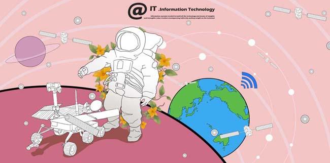 > 素材信息   关键字: 卡通地球太空通信科技宇航员卫星星球插画卡通